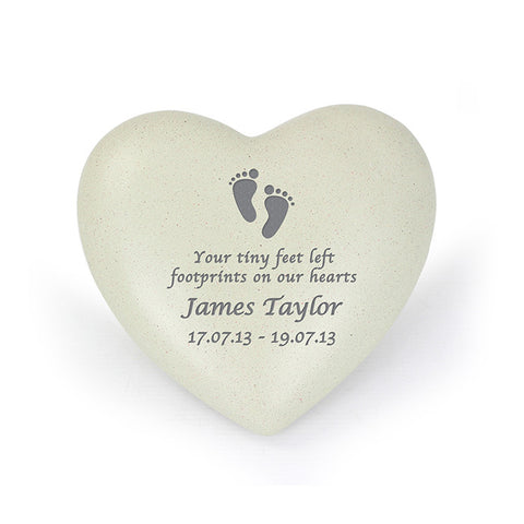 Footprints Design Personalised Memorial Heart
