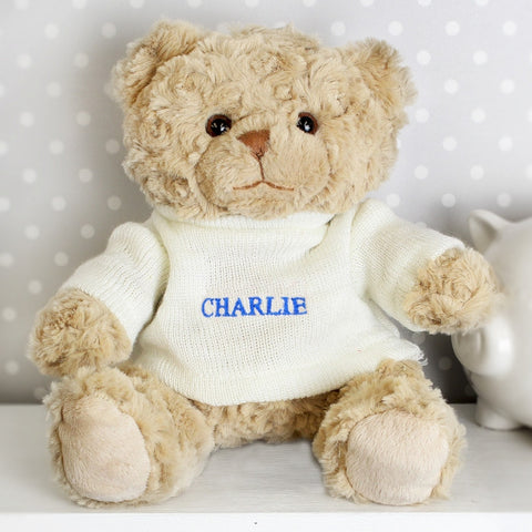 Blue Name Only Personalised Teddy Bear - Harringtons