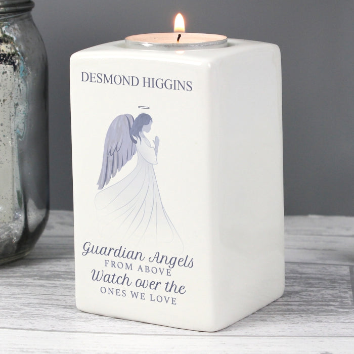 Ceramic Guardian Angel Design Personalised Tea Light Candle Holder