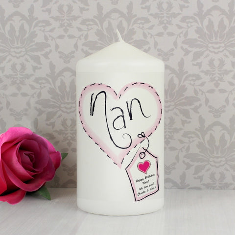 Heart Stitch Personalised Nan Candle - Harringtons