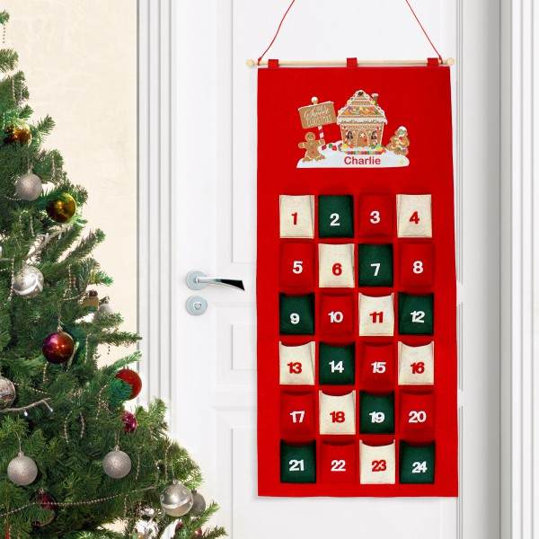 Gingerbread House Design Personalised Felt Advent Calendar