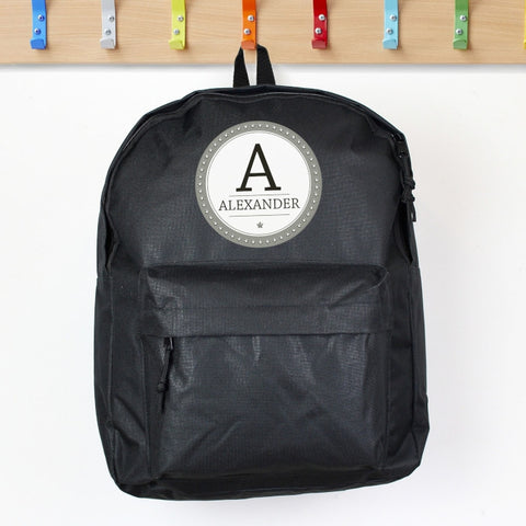 Black Personalised Backpack