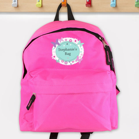 Butterfly Design Pink Personalised Backpack