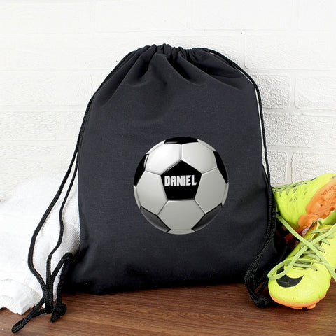 Black Personalised Football Kit Bag