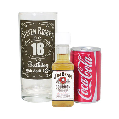 Personalised Birthday Whisky Glass with Bourbon Whisky Miniature & Coke Set