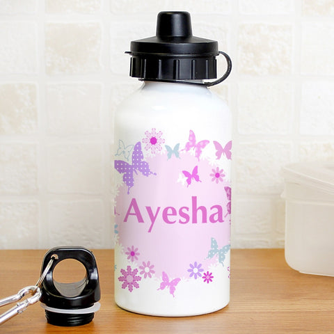 Butterfly Design Aluminium Personalised Drinks Bottle