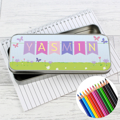 Bunting Design Personalised Pencil Tin & Coloured Pencils