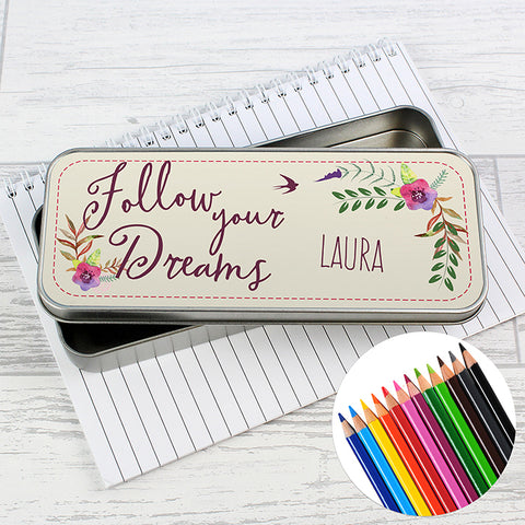 Follow Your Dreams Personalised Pencil Tin & Coloured Pencils