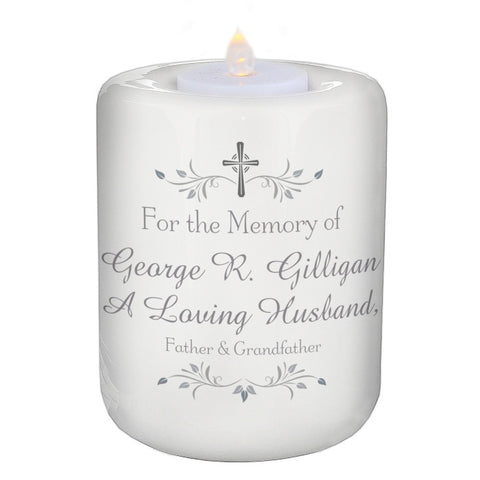 For The Memory Of...... Personalised Round Ceramic Tea Light Candle Holder - Harringtons