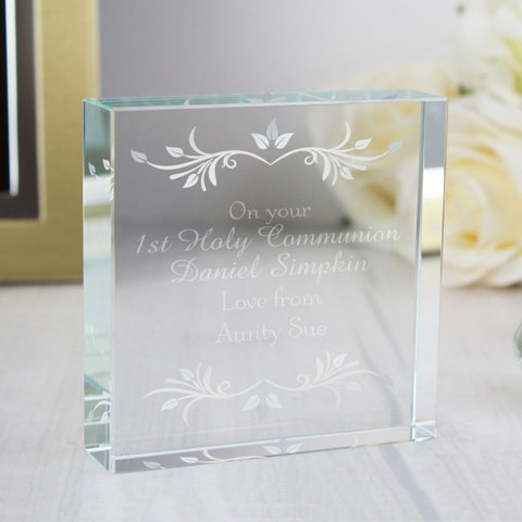 On Your 1st Holy Communion Personalised Large Crystal Token
