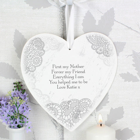 Dainty Lace Large Personalised Wooden Heart Decoration - Harringtons