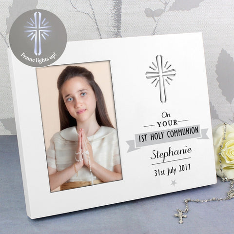 On Your 1st Holy Communion Personalised Light Up Photo Frame