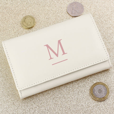 Any Initial Personalised Cream Leather Purse