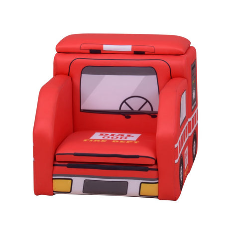 Fire Engine Child's Chair With Storage