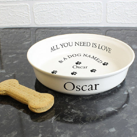 All You Need Is Love Personalised Dog's Bowl - Harringtons