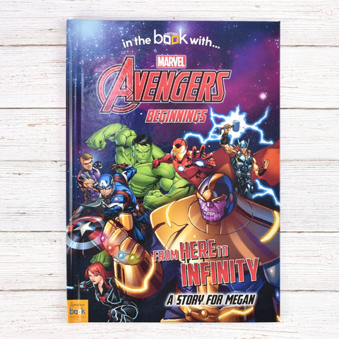 Avengers Beginnings From Here To Infinity Personalised Hardback Book