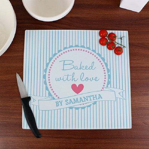 Baked With Love Personalised Glass Chopping Board - Harringtons