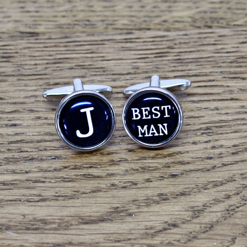 Best Man Typewriter Key Style Personalised Cufflinks - Harringtons