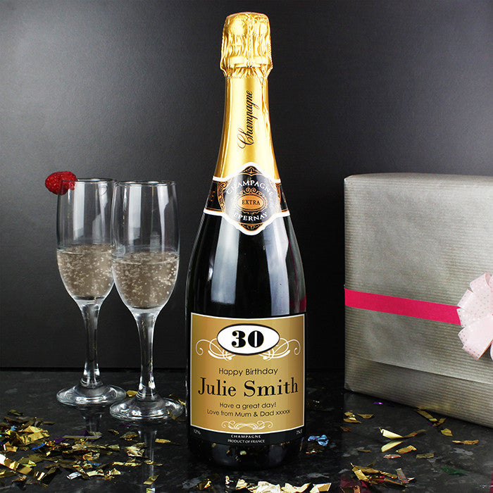 Birthday Champagne With Personalised Label - Harringtons