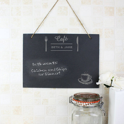 Bistro Design Personalised Hanging Slate Sign - Harringtons
