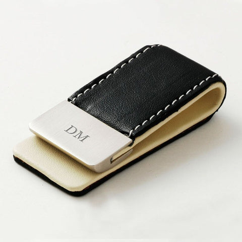 Engraved Black Leather Money Clip - Harringtons