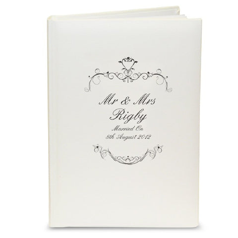 Black Swirl Personalised Wedding Photo Album - Harringtons