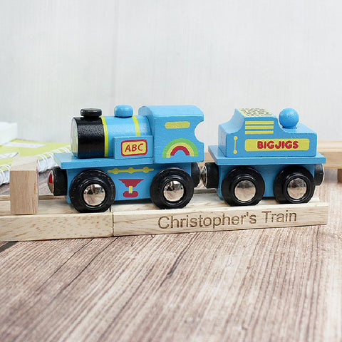 Blue ABC Personalised Wooden Toy Train - Harringtons