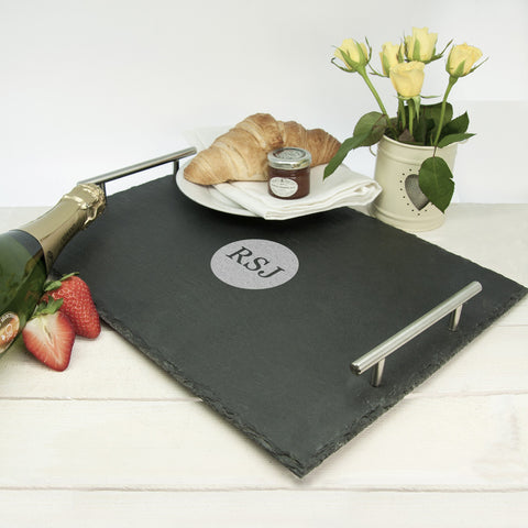 Breakfast In Bed Personalised Slate Tray - Harringtons