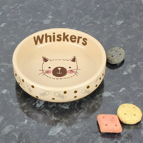 Brown Dotty Design Personalised Cat's Bowl - Harringtons
