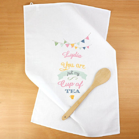 Bunting Design Personalised Tea Towel - Harringtons