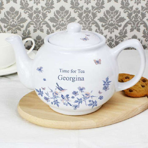 Country Diary Blue Blossom Personalised Teapot - Harringtons