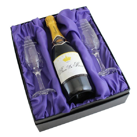 Crystal Pair Of Engraved Flutes and Champagne Gift Set - Harringtons