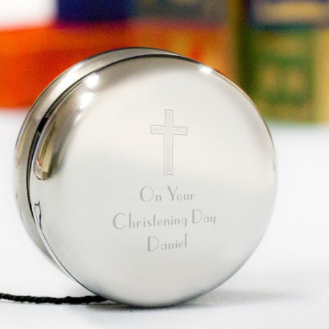 Cross Design Personalised Christening Yoyo - Harringtons