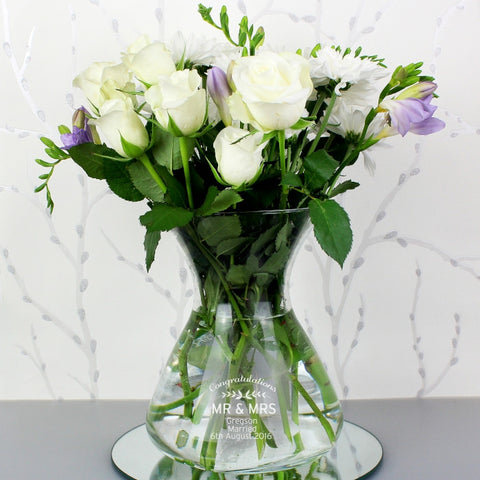 Engraved Classic Glass Vase - Harringtons