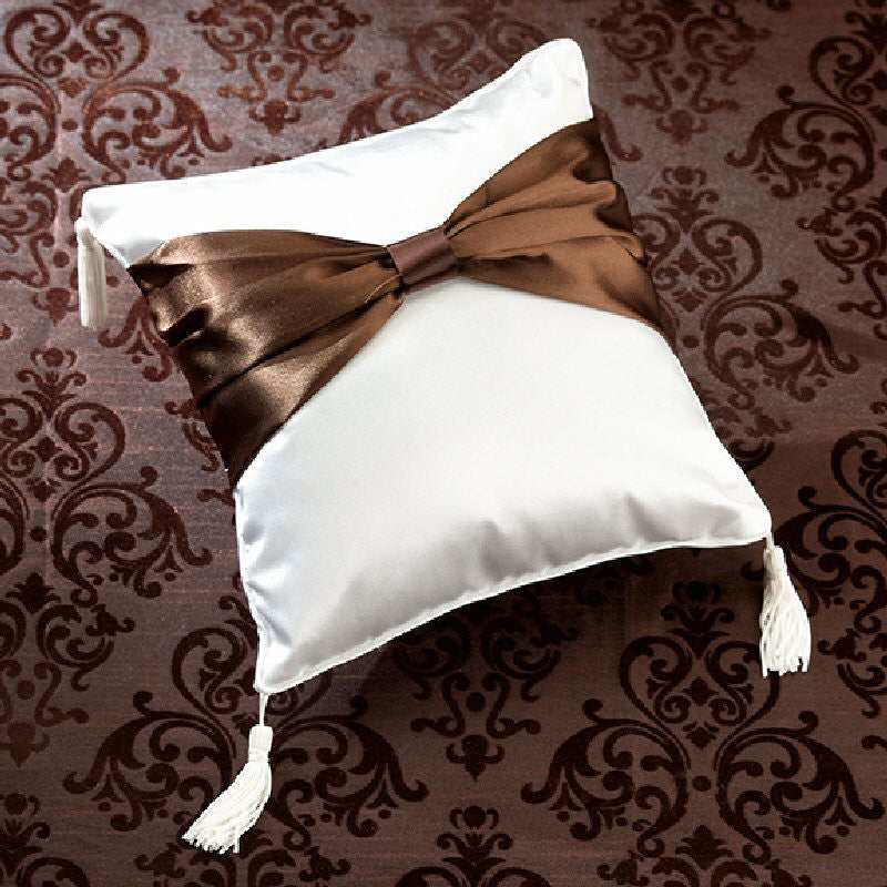 Brown Sash Wedding Ring Pillow - Harringtons