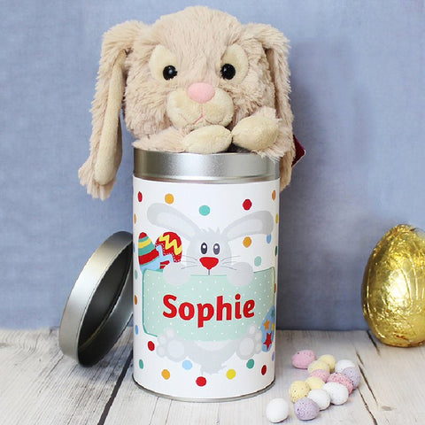 Easter gifts harringtons cuddly bunny in personalised easter tin harringtons negle