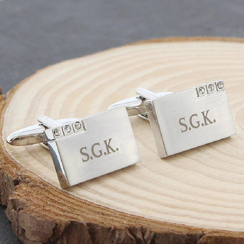 Engraved Diamante Cufflinks - Harringtons