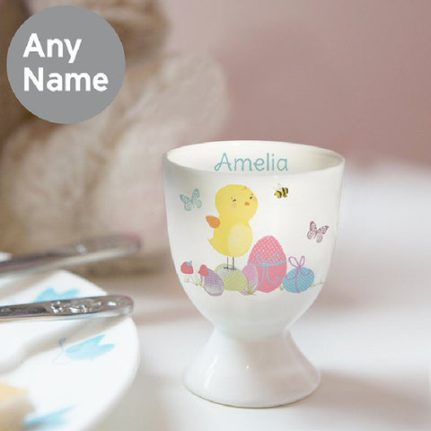 Easter Meadow Chick Personalised Egg Cup - Harringtons
