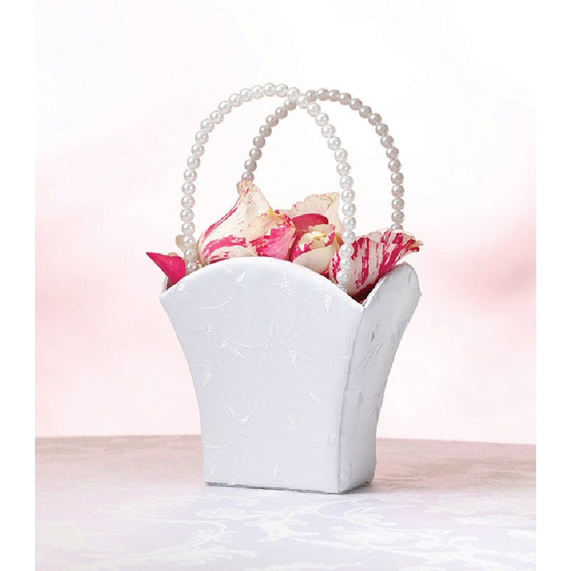 Elegant White Flower Girl Basket - Harringtons