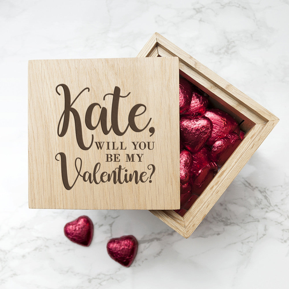Be My Valentine? Personalised Oak Photo Cube With Belgian Chocolate Hearts - Harringtons