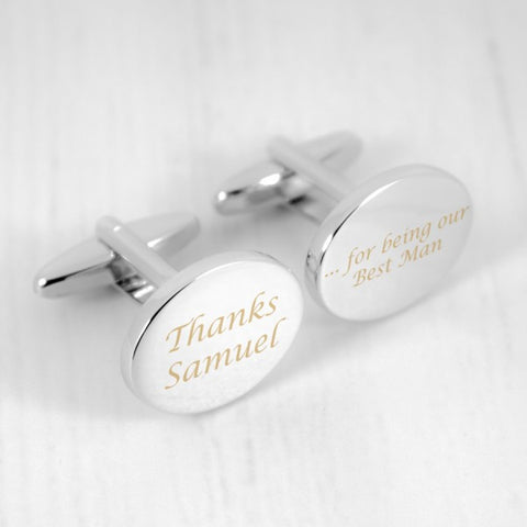 Thanks For Being Our Best Man Personalised Cufflinks - Harringtons