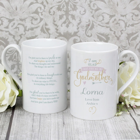 I Am Glad You're My Godmother Personalised Mug