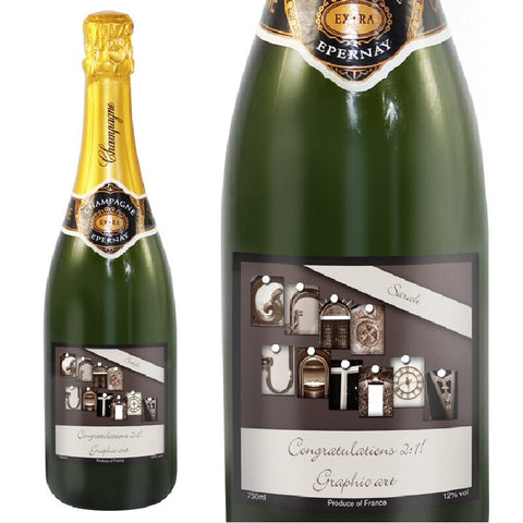 Graduation Champagne With Personalised Label & Gift Box - Harringtons