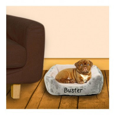 Grey Cushioned Persoalised Pet Bed
