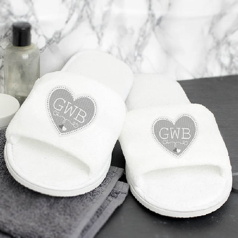 Heart Design Personalised Velour Slippers - Harringtons