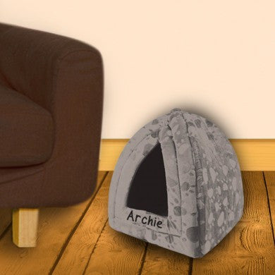 Grey Personalised Pyramid Pet Bed