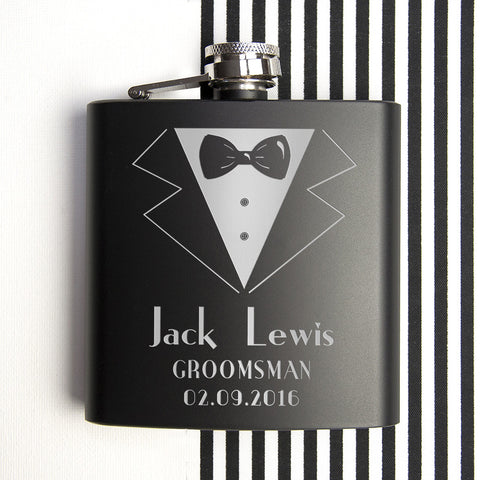 Thank You For Being My Groomsman Personalised Black Matte Hip Flask