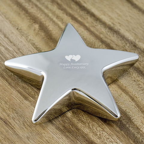 Happy Anniversary Personalised Heart Star Paperweight