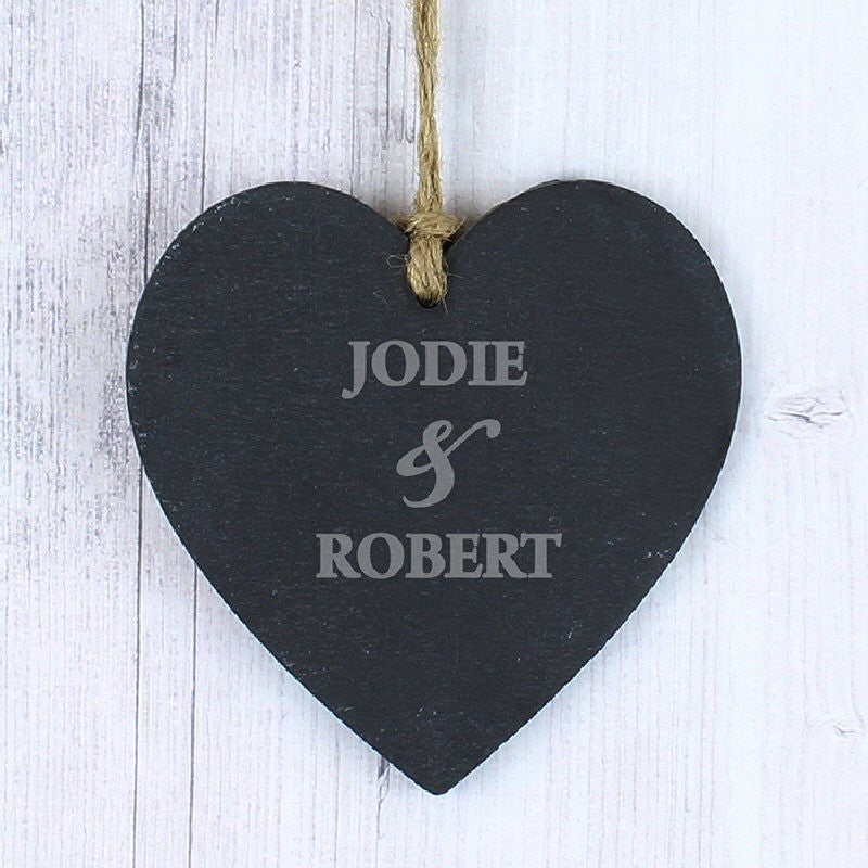 Couples Personalised Slate Heart Decoration - Harringtons
