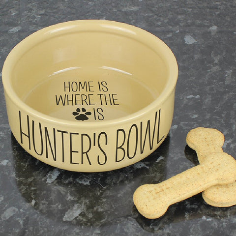 Home Is Where.... Large Personalised Dog's Bowl - Harringtons